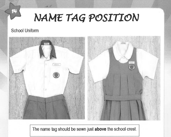 Instructions on the position of the name tag.